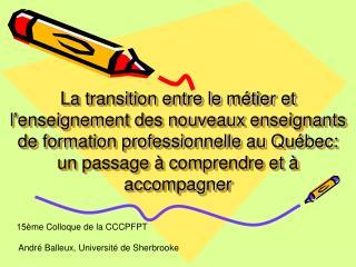 La transition entre le m tier et l enseignement des nouveaux enseignants de formation professionnelle au Qu bec:  un pas