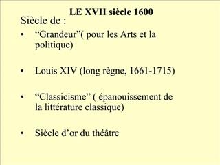 LE XVII si cle 1600