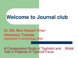 Welcome to Journal club