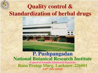 quality control  standardization of herbal drugs
