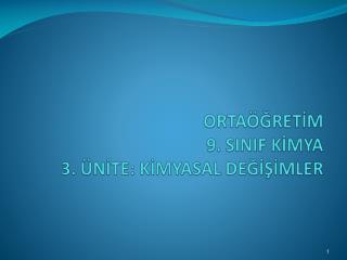 ORTA GRETIM  9. SINIF KIMYA  3.  NITE: KIMYASAL DEGISIMLER