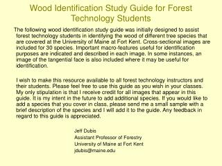 wood identification study guide for forest technology students