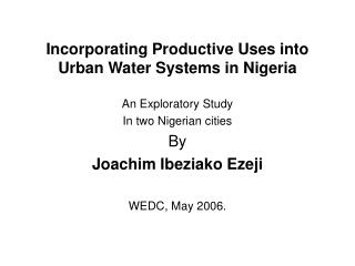 Incorporating Productive Uses into Urban Water Systems in Nigeria