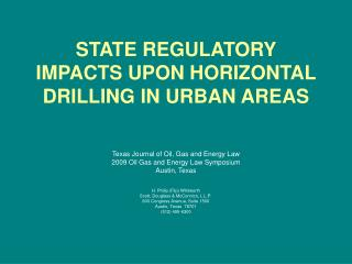 state regulatory impacts upon horizontal drilling in urban areas