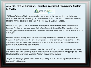 Alex Pitt, CEO of Lucrazon, Launches Integrated Ecommerce