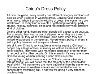 China's Dress Policy