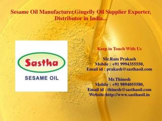Sastha-Sesame oil Exporter in India
