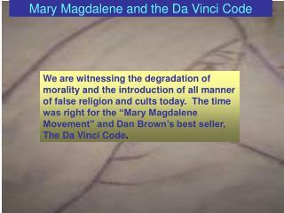 Mary Magdalene and the Da Vinci Code