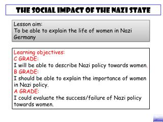 Lesson aim: To be able to explain the life of women in Nazi Germany