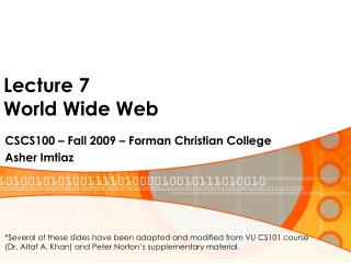 Lecture 7 World Wide Web