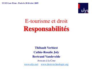 E-tourisme et droit  Responsabilit s