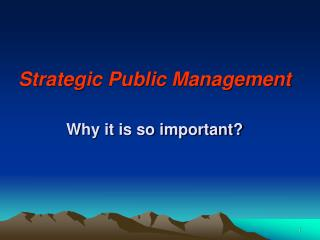 Strategic Public Management  Why it is so important