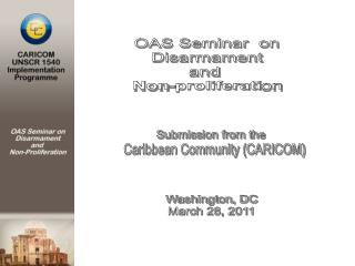 OAS Seminar  on Disarmament and  Non-proliferation