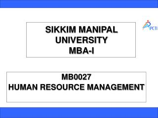 SIKKIM MANIPAL UNIVERSITY MBA-I