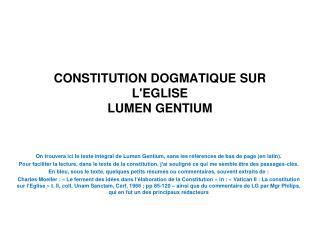 CONSTITUTION DOGMATIQUE SUR LEGLISE LUMEN GENTIUM