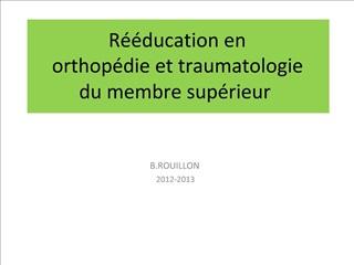 R  ducation en orthop die et traumatologie  du membre sup rieur