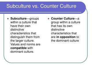 Subculture vs. Counter Culture