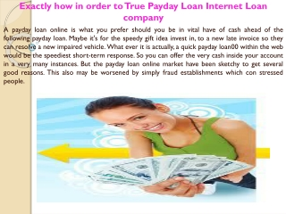 Exactly how in order to True Payday Loan Internet Loan compa