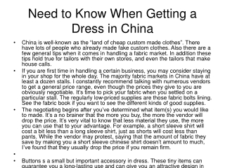 Need to Know When Getting a Dress in China