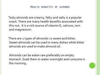 Benefits Of Consuming Almonds Every Day