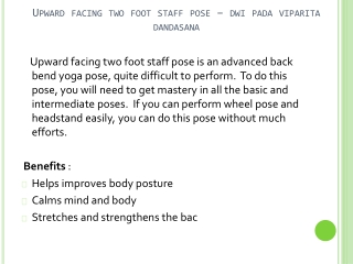 How To Do Upward Facing Two-Foot Staff