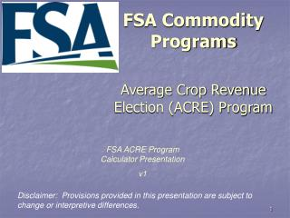 fsa commodity programs  average crop revenue election acre program