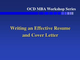 writing an effective resume and cover letter