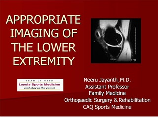 appropriate imaging of the lower extremity
