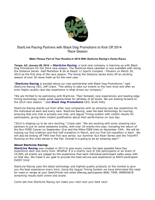 StartLine Racing Partners with Black Dog Promotions to Kick
