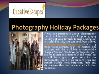 Experience the zeal of photography holidays across the world