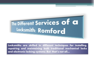 The Different Services of a Locksmith: Romford
