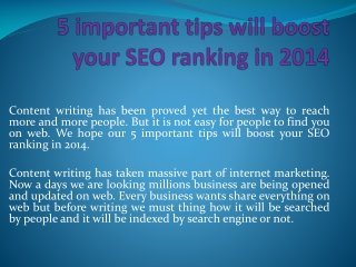 5 important tips will boost your SEO ranking in 2014