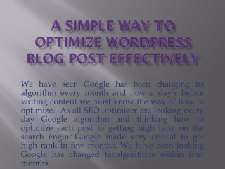 A simple way to optimize WordPress blog post effectively