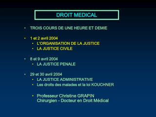 DROIT MEDICAL
