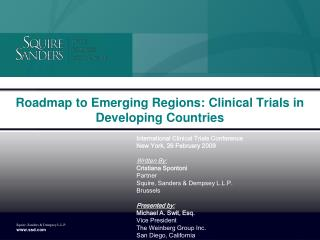 Roadmap to Emerging Regions: Clinical Trials in Developing Countries