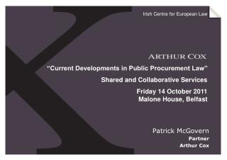 Patrick McGovern Partner Arthur Cox