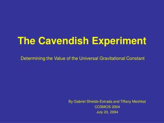 The Cavendish Experiment