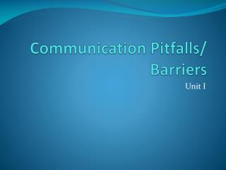 Communication Pitfalls