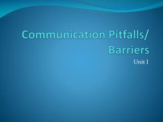 Communication Pitfalls