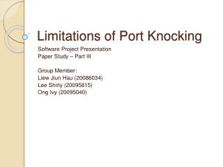 Limitations of Port Knocking