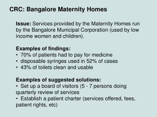 CRC: Bangalore Maternity Homes