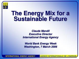 The Energy Mix for a  Sustainable Future  Claude Mandil Executive Director  International Energy Agency  World Bank Ener