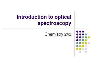 Introduction to optical spectroscopy