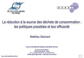La r duction   la source des d chets de consommation : les politiques possibles et leur efficacit