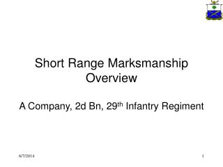 Short Range Marksmanship Overview  A Company, 2d Bn, 29th Infantry Regiment