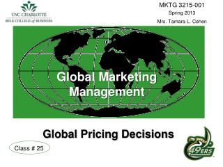 Global Marketing  Management    Global Pricing Decisions