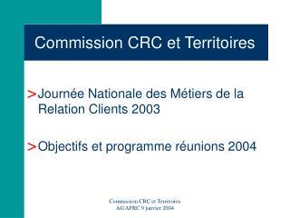 Commission CRC et Territoires