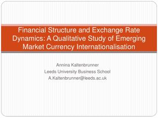 Financial Structure and Exchange Rate Dynamics: A Qualitative Study of Emerging Market Currency Internationalisation