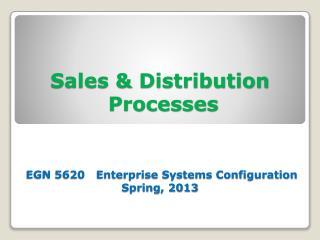 Sales  Distribution  Processes    EGN 5620   Enterprise Systems Configuration  Spring, 2013