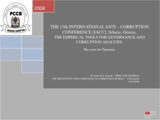 prevention and combating of corruption bureau        taarifa fupi ya uchunguzi wa tuhuma za rushwa kubwa grand corruptio